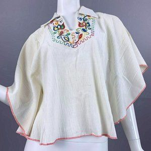 OS Vintage 70s Oaxacan Batwing Embroidered Shirt